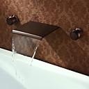 رخيصةأون حنفيات مغاسل الحمام-أنتيك مثبت على الحائط شلال صمام نحاسي أصفر ثلاثة ثقوب مقبضين ثلاثة ثقوب برونز مفروك بزيت, بالوعة الحمام الحنفية