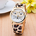 cheap Fashion Watches-Women's Ladies Wrist Watch Quartz Cat Quilted PU Leather Black / White / Brown Casual Watch Analog Casual Fashion - Black Coffee Leopard One Year Battery Life / SSUO 377