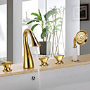preiswerte Echthaar Perücken mit Spitze-Badewannenarmaturen - Antike Ti-PVD Badewanne & Dusche Keramisches Ventil / Drei Griffe Fünf Löcher