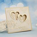 hesapli Düğün Davetiyeleri-Kişiselleştirilmiş Üç Katlanır Düğün Davetiyeleri Davet Kartları-50 Adet/Set İnci Kağıdı