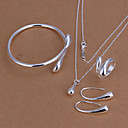 cheap Jewelry Sets-Women's Cubic Zirconia Jewelry Set - Silver Plated Drop Fashion Include Bracelet Bangles / Drop Earrings / Necklace Silver For Wedding / Daily / Casual