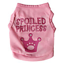 cheap Dog Clothes-Cat Dog Shirt / T-Shirt Dog Clothes Letter & Number Tiaras & Crowns Rose Pink Terylene Costume For Pets Men's Women's Fashion