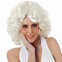 billige Syntetiske parykker uten hette-Syntetiske parykker Krøllet Asymmetrisk frisyre Syntetisk hår Naturlig hårlinje / Midtskill Hvit Parykk Dame Kort Lokkløs Hvit
