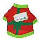 baratos Trajes de Natal para animais de estimação-Gato Cachorro Fantasias Camiseta Roupas para Cães Preto/Vermelho Verde/Vermelho Algodão Ocasiões Especiais Para animais de estimação