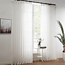 cheap Curtains Drapes-Sheer Curtains Shades Living Room Solid Colored Linen / Polyester Blend Print