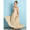 cheap Wall Stickers-A-Line Scoop Neck Floor Length Chiffon / Lace Junior Bridesmaid Dress with Lace by LAN TING BRIDE® / Natural / Mini Me