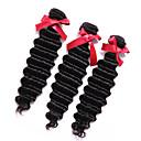 billige Syntetiske parykker uden hætte-3 Bundler malaysisk hår Dyb Bølge Menneskehår, Bølget Menneskehår Vævninger Menneskehår Extensions