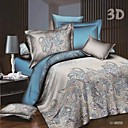 cheap Solid Duvet Covers-Duvet Cover Sets 3D Poly / Cotton Reactive Print 4 Piece / 250 / 4pcs (1 Duvet Cover, 1 Flat Sheet, 2 Shams)