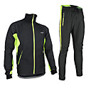 cheap Cycling Pants, Shorts, Tights-Arsuxeo Men's Long Sleeve Cycling Jacket with Pants - Black / Red / Black / Green / Black / Blue Bike Jacket Clothing Suit Thermal / Warm Windproof Fleece Lining Breathable Anatomic Design Winter