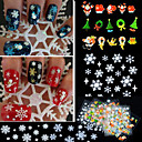 cheap Nail Glitter-12pcs mixed 3d christmas snowflake feather christmas tree nail art stickers