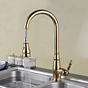 cheap Kitchen Faucets-Kitchen faucet - Traditional Ti-PVD Pull-out / ­Pull-down Deck Mounted