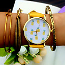 cheap Bracelet Watches-Women's Quartz Bracelet Watch Chronograph PU Band Charm Fashion Black White Brown Green Yellow