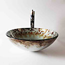 hesapli Çanak Lavabolar-Çağdaş Yuvarlak Emici Malzeme olduğunu Temperli Cam Banyo Lavabosu Banyo Musluğu Banyo Montaj Halkaları Banyo Su Drenajı