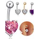 זול צבע זמני-טבעת הטבור / פירסינג בטן - פלדת על חלד לב עיצוב מיוחד, אופנתי בגדי ריקוד נשים תכשיטי גוף עבור יומי / קזו'אל