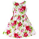 hesapli 3D Sticker-Kız Pamuklu Çiçekli Bahar Yaz Kolsuz Elbise Çiçek Kırmzı