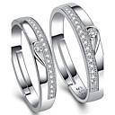 baratos Anéis-Casal Anéis de Casal - Prata de Lei, Zircônia Cubica Ajustável Prata Para Casamento / Festa / Diário