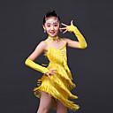 baratos Roupas Infantis de Dança-Dança Latina Vestidos Espetáculo Poliéster Cristal / Strass Mocassim Sem Manga Alto Vestido Luvas Neckwear