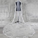 cheap Wedding Veils-One-tier Lace Applique Edge Wedding Veil Chapel Veils Cathedral Veils With Applique Tulle