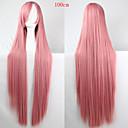 billige LED Strip Lamper-Syntetiske parykker Rett Lyserød Asymmetrisk frisyre Syntetisk hår Naturlig hårlinje Lyserød Parykk Dame Lang Lokkløs Rosa