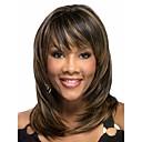 preiswerte Synthetische Perücken ohne Kappe-Synthetische Perücken Wellen Synthetische Haare Afro-amerikanische Perücke Perücke Damen Mittellang Kappenlos
