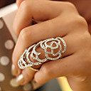 cheap Rings-Women's Hollow Statement Ring - Crystal, Rhinestone, Silver Plated Roses, Flower European 7 Silver / Golden For Party / Daily / Casual / Gold Plated / Gold Plated