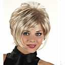 cheap Human Hair Capless Wigs-capless short synthetic mixed straight curly hair wig full bang