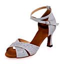 baratos Sapatos de Dança Latina-Mulheres Sapatos de Dança Latina Gliter Sandália Salto Carretel Personalizável Sapatos de Dança Prateado / Vermelho / Azul / Espetáculo