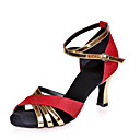 cheap Latin Shoes-Women's Latin Shoes Glitter / Leatherette Sandal Splicing Flared Heel Customizable Dance Shoes Silver / Red / Blue / Performance