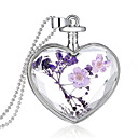 cheap Necklaces-Crystal Pendant - Sterling Silver Heart Fashion Purple Necklace Jewelry For Wedding, Party, Daily