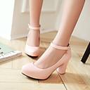 abordables Tacones de Mujer-Mujer Zapatos Semicuero Primavera Verano Tacón Cuadrado Plataforma para Casual Oficina y carrera Vestido Blanco Negro Rosa