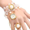 cheap Bracelet Watches-Women's Quartz Bracelet Watch Casual Watch Alloy Band Pearls Fashion White