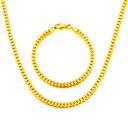 hesapli Moda Bileklikler-Erkek Takı Seti - Altın Kaplama Dahil etmek Altın / Gümüş / Gri Uyumluluk Düğün / Parti / Günlük / Kolyeler / Bilezik