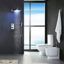 hesapli Banyo Lavabosu Muslukları-Duş Musluğu - Çağdaş Krom Duvara Monte Edilmiş Pirinç Vana Bath Shower Mixer Taps / İki Kolları Dört Delik