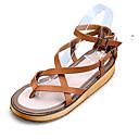 abordables Sandalias de Mujer-Mujer Zapatos Cuero Primavera Verano Otoño Confort Talón Descubierto Tacón Plano Hebilla para Casual Vestido Blanco Negro Marrón