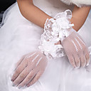 cheap Party Gloves-Net / Elastic Satin / Polyester Wrist Length Glove Classical / Bridal Gloves With Solid