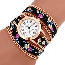 preiswerte Armband-Uhren-Damen Armband-Uhr Armbanduhren für den Alltag PU Band Analog Blume Böhmische Modisch 7 # 8 # 9 # Ein Jahr Batterielebensdauer