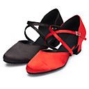 baratos Sapatos de Dança Moderna-Mulheres Sapatos de Dança Moderna Cetim Sandália / Salto Presilha Salto Personalizado Personalizável Sapatos de Dança Preto / Vermelho