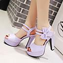 baratos Sandálias Femininas-Mulheres Sapatos Courino Primavera / Verão / Outono Salto Robusto Laço Bege / Roxo / Rosa claro