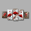 cheap Top Artists' Oil paitings-Oil Painting Hand Painted - Floral / Botanical Modern Canvas