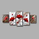 billige Veggklistremerker-Hang malte oljemaleri Håndmalte - Blomstret / Botanisk Moderne Inkluder indre ramme / Fem Paneler / Stretched Canvas