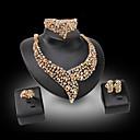 baratos Anéis-Mulheres Pérola / Diamante sintético Conjunto de jóias - Banhado a Ouro 18K, Pérola, Strass Luxo Incluir Dourado Para Casamento / Festa / Chapeado Dourado / Imitações de Diamante / Anéis / Brincos