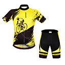 cheap Party Gloves-WOSAWE Short Sleeves Cycling Jersey with Shorts - Yellow/Black Bike Shorts Bib Shorts Jersey Clothing Suits, Quick Dry, Anatomic Design,