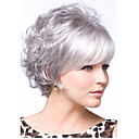 cheap Synthetic Wigs-Synthetic Wig Curly Layered Haircut / With Bangs Synthetic Hair With Bangs White Wig Women's Short Capless