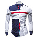 cheap Girls' Clothing Sets-Men's Plus Size Cotton Slim Shirt - Color Block Blue & White, Patchwork Spread Collar / Long Sleeve / Spring / Fall