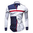 cheap Shoulder Bags-Men's Plus Size Cotton Slim Shirt - Color Block Blue & White, Patchwork Spread Collar / Long Sleeve