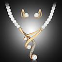 preiswerte Kleider für Mädchen-Damen Perle Schmuck-Set - Perle, Künstliche Perle, Strass Luxus Einschließen Halskette / Ohrringe Weiß Für Hochzeit / Party / vergoldet / Diamantimitate / Halsketten
