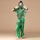 voordelige Kinderdanskleding-Buikdans Outfits Prestatie Chiffon Pailletten Gouden munten Kwastje Laag Top Broeken Masker Armbanden Hoofddeksels