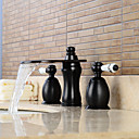 cheap Unprocessed Hair-Contemporary Widespread Waterfall Widespread Ceramic Valve Two Handles Three Holes Oil-rubbed Bronze, Bathroom Sink Faucet