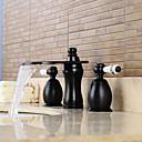 billige Ombré hårforlængelser-Moderne Udspredt Vandfald / bred spary with  Keramik Ventil To Håndtag tre huller for  Olie-gnedet Bronze , Håndvasken vandhane