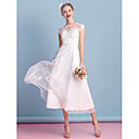 cheap Wedding Shoes-A-Line Bateau Neck Tea Length Organza Made-To-Measure Wedding Dresses with Bowknot / Appliques / Lace by LAN TING BRIDE® / Little White Dress / See-Through